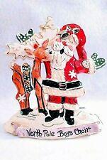 Blue Sky Clayworks Choir Santa W/ Rudolph Signed Heather Goldminc Tealight Hldr