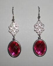 Lacy filigrana stile vittoriano rosa caldo acrilico pietre Dark Silver Orecchini Pl