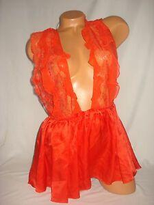 Victoria Secret Lingerie Teddy Large Babydoll Designer Collection Red Silk Lace