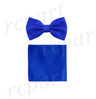 New formal men's pre tied Bow tie & Pocket Square Hankie solid royal blue prom