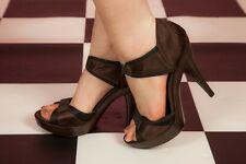 Dark brown & black satin open top platform heels by Faith size 7