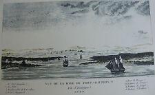 Gravure Baie Fort Dauphin St Domingue Ponce 18ème Reproduction petit tirage 1973