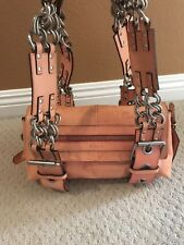 NEW CHLOE LEATHER BAG SILVER CHAIN CORAL PINK VINTAGE HANDBAG TAG