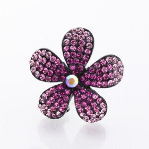 Hand Made Hair Jewelry swarovski crystal Flower Hair Barrettes, Pink Rhinestone