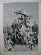 INDE PRINCE DE GALLES ELEPHANTS DU GUICOWAR DE BARODA L'ILLUSTRATION 1875