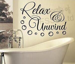 UNWIND RELAX SOAK BATH GV QUOTE WALL ART STICKER DECAL DIY HOME BATHROOM