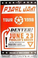 "PEARL JAM ""YIELD TOUR 1998"" DENVER CONCERT POSTER - Grunge Music Lives!"