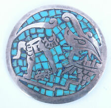 Old large sterling Mexico, Mexican silver, unique, Turquoise inlay, pin, pendant