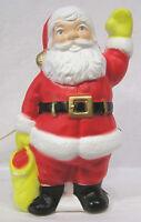 Vintage Christmas Blow Mold Light Santa Claus Waving Gift Bag at Side 1970s