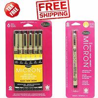 Pen Set Sakura Pigma Micron Blister Card Black Pigment Archival Acid Free Pens