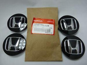 """(Set of 4) New Genuine Honda Black Wheel Center Cap w/ Chrome """"H"""" 44732-TR3-A01"""
