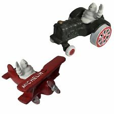 MICHELIN Man in Plane & Tractor Figure Mascot Statue BIBENDUM Figurine Cast