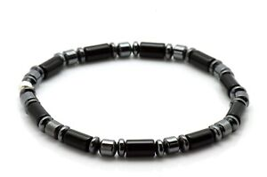 Mens Bead Bracelet Onyx Tube and Hematite with Sterling Silver Handmade