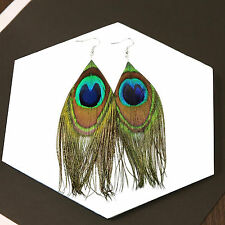 Boho Retro Peacock Feather Earrings Dangle Style Studs Drop Earrings Women's