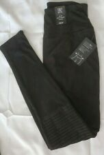 INC International Concepts Pintucked Faux-Suede Leggings Black Small (2-4)