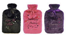 2L PLUSH WRITING HOT WATER BOTTLE - COVERS IN PINK, BLACK AND PURPLE (ASSORTED)