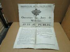HAUTE LOIRE affiche ouverture du Jury de Médecine 1806