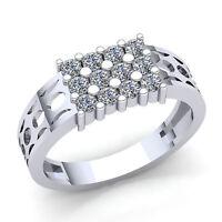 1.50Ct Round Cut Diamond 3Row Modern Mens Wedding Band Ring Solid 10K Gold