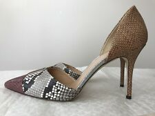 New J Crew sz. 11 Elsie D'Orsay Pump Snakeskin Printed Leather #F5586 Heel Shoes