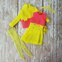 Vintage Barbie #1463 RARE PAIR * Complete * MINTY!! Mod Pink Yellow Doll Clothes