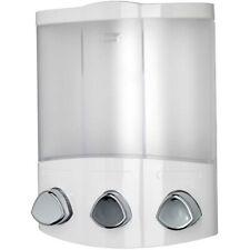Triple Soap Dispenser Shampoo Shower Gel Conditioner Bathroom Pump White Croydex