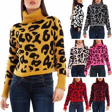 Maglione donna pullover maculato leopardato collo alto corto TOOCOOL VB-1752