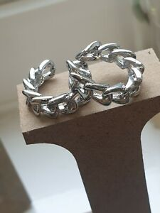 Non Pierced C-shaped Silver Alloy Chain Link Style Ear Cuff Wide
