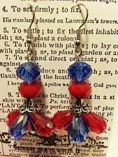 Blue Red Glass Beads Silver Plated Handmade Fashion Dangling Hook Earrings