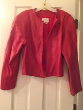 Vakko Vintage Red Leather Zip Up Jacket Cropped Heavily Padded Shoulders Size 10