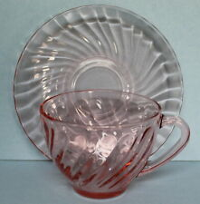 Arcoroc France Vintage Glass Rosaline Pink Swirl Cup and Saucer EUC