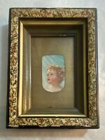 Antique Victorian Faux Marbleized Shadow Box Picture Frame  7 x 9 x 1.5 inches