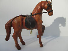 "Antique Leather 7"" Free Standing Saddled Horse, Handmade Equine Collectible!"