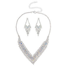 Lux Accessories Silver Tone Layered V Shaped Crystals Chain Statement Necklace