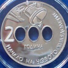 Bulgaria 10 leva Silver Proof 2000 Millennium Bells with Holes in Zeroes
