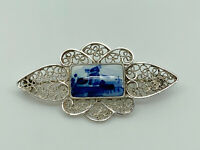 Gorgeous Vintage Sterling Silver Handpainted Delft Windmill Filigree Brooch
