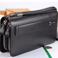 Men Long Business Leather Clutch Wallet Handbag Purse Zipper Card Holder Bag
