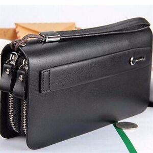 Men Long Business Leather Clutch Wallet Handbag Purse Zipper Card Holder Bag