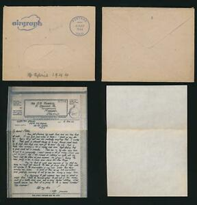 CYPRUS MEF WW2 AIRGRAPH 1944 ROBERTS + CENSORED + POST PAID in BLUE