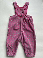 VTG Childs 3 4 T ? Corduroy Overalls PINK FLORAL Mouse Ears Snap Crotch Handmade