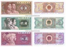 CHINE 1 + 2 + 5 jiao 1980 Lot de 3 billets 3 pcs UNC