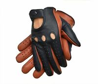 DRIVING GLOVES MEN GENUINE LEATHER TWO TONE TAN/BLUE