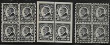 US Scott #610-12, Blocks of 4 1923 Harding 2c FVF MH