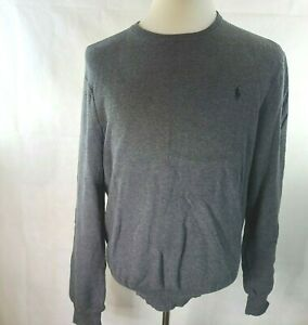 Polo Ralph Lauren Mens Cotton Crewneck Sweater Gray Large RL-277
