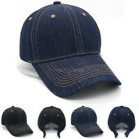 Cotton Baseball Caps Adjustable Polo Style Hat Denim Hats Plain Curved Visor Cap