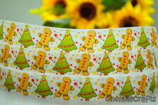 "7/8"" INCH 22MM GINGERBREAD MEN & CHRISTMAS TREE GROSGRAIN RIBBON 4 BOW 5 YARDS"
