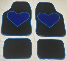BLACK CAR MATS BLUE HEART HEEL PAD FOR HYUNDAI COUPE GETZ SONATA TERRACAN