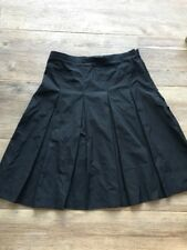 BURBERRY LONDON Black Zip Side Pleated Lined Below Knee Circle Skirt S 6 Classic