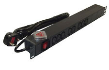 "8 way IEC C13 PDU to UK PLUG 1U 19"" Horizontal Rackmount Power Distribution Unit"
