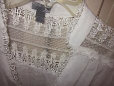 Poetry white cotton Victorian top,blouse,tunic w/lace, crochet, back ties M 8 10