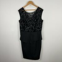 City Chic Womens Dress Small AU 14 Black Sequin Sleeveless Round Neck Zip
